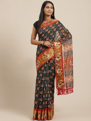 Vastranand | VASTRANAND Black & Mustard Yellow Printed Pochampally Saree