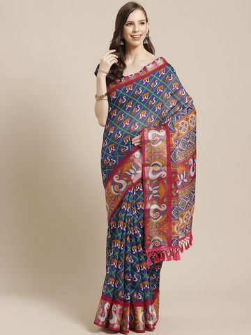 Vastranand | VASTRANAND Blue & Mustard Yellow Printed Pochampally Saree