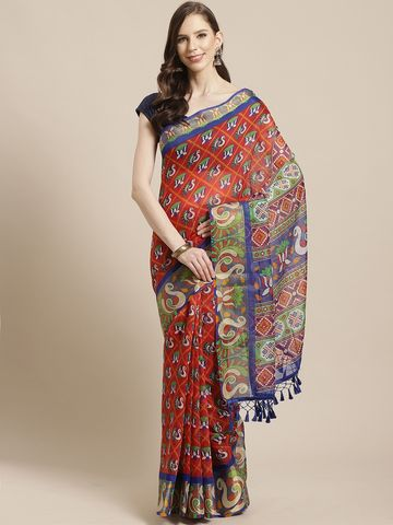 Vastranand | VASTRANAND Red & Blue Printed Pochampally Saree