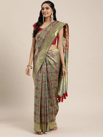 Vastranand | VASTRANAND  Grey & Red Silk Blend Woven Design Patola Saree