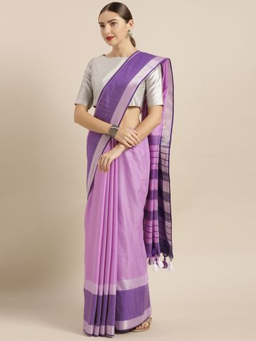 Vastranand | VASTRANAND  Purple Solid Linen Blend Saree