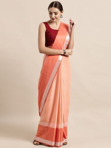 Vastranand | VASTRANAND  Peach-Coloured Solid Linen Blend Saree