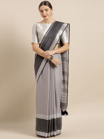 Vastranand | VASTRANAND  Grey Solid Linen Blend Saree