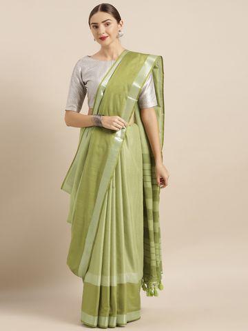 Vastranand | VASTRANAND  Green Solid Linen Blend Saree