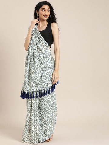 Vastranand | VASTRANAND  White & Blue Linen Blend Printed Bandhani Saree