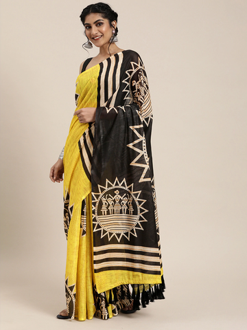 Vastranand | VASTRANAND  Yellow & Black Linen Blend Printed Saree