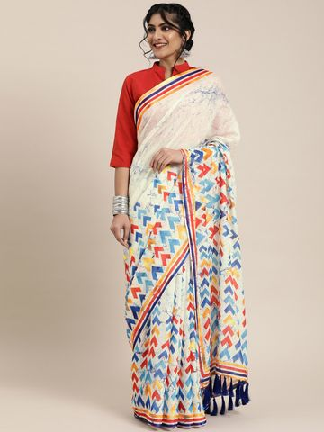 Vastranand | VASTRANAND  White & Blue Linen Blend Printed Block Print Saree