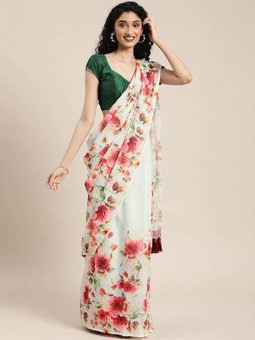 Vastranand | VASTRANAND  White & Red Linen Blend Printed Saree