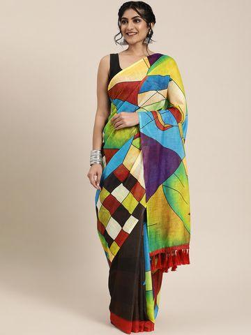 Vastranand | VASTRANAND  Multicoloured Abstract Printed Linen Blend Half & Half Saree