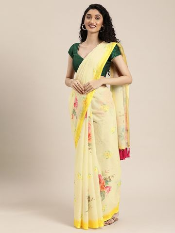 Vastranand | VASTRANAND  Yellow Floral Printed Linen Blend Saree