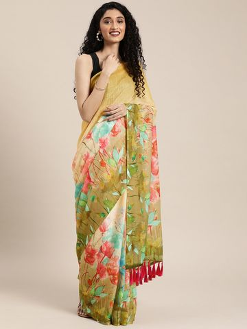 Vastranand | VASTRANAND  Cream-Coloured & Green Linen Blend Printed Saree