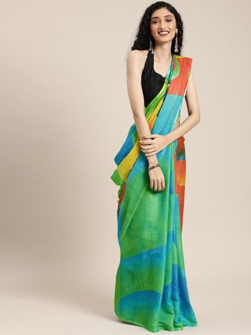 Vastranand | VASTRANAND  Green & Multicoloured Linen Blend Printed Block Print Saree