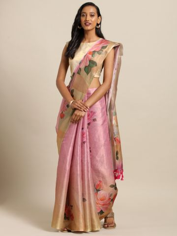 Vastranand | VASTRANAND  Rose Gold & Yellow Silk Printed Maheshwari Saree