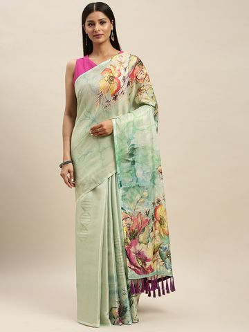 Vastranand | VASTRANAND Turquoise Blue Silk Printed Maheshwari Saree