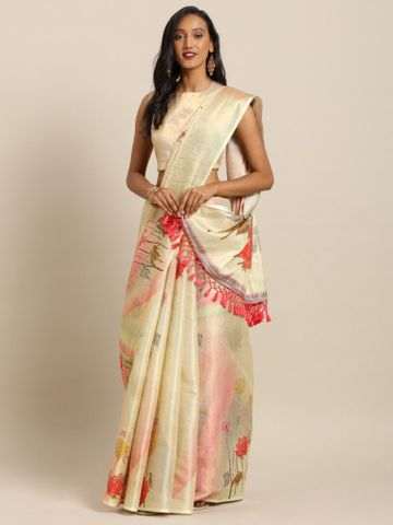 Vastranand | VASTRANAND  Yellow & Red Silk Floral Digital Printed Maheshwari Saree