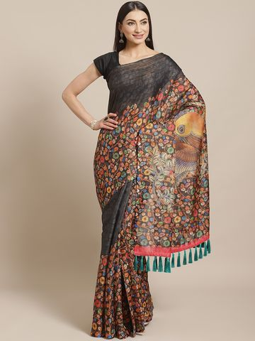 Vastranand | VASTRANAND  Black & Orange Digital Print Maheshwari Saree