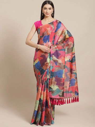 Vastranand | VASTRANAND  Red & Blue Digital Print Maheshwari Saree