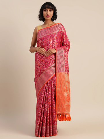 Vastranand | VASTRANAND  Pink & Gold-Toned Silk Blend Woven Design Patola Saree