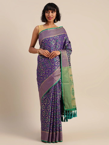 Vastranand   VASTRANAND  Purple & Gold-Toned Silk Blend Woven Design Patola Saree