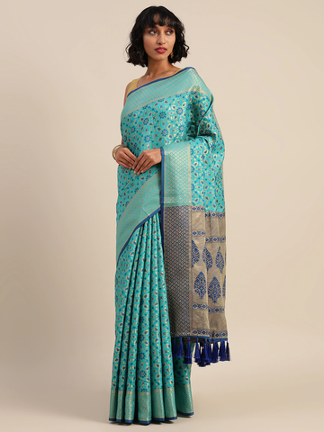Vastranand | VASTRANAND  Blue & Gold-Toned Silk Blend Woven Design Patola Saree