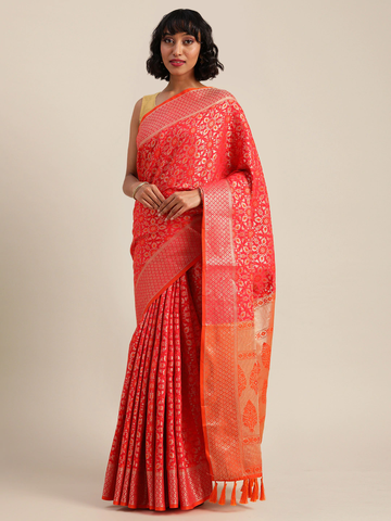 Vastranand | VASTRANAND  Red & Orange Silk Blend Woven Design Patola Saree