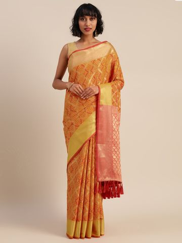 Vastranand | VASTRANAND  Yellow & Red Silk Blend Woven Design Patola Saree