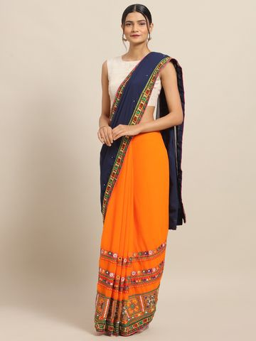 Vastranand | VASTRANAND Orange Georgette Embroidered Bandhani Saree