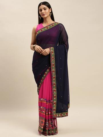 Vastranand | VASTRANAND Pink & Black Georgette Kutchi Embroidered Bandhani Saree