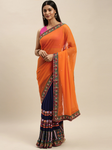 Vastranand | VASTRANAND Navy Blue & Orange Georgette Kutchi Embroidered Bandhani Saree