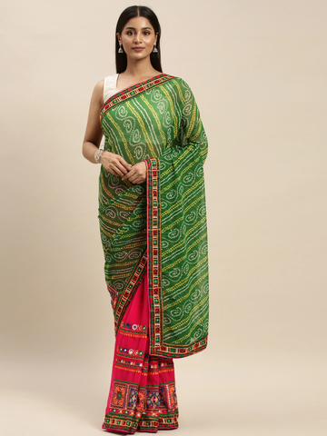 Vastranand | VASTRANAND Pink & Green Georgette Embroidered Bandhani Saree