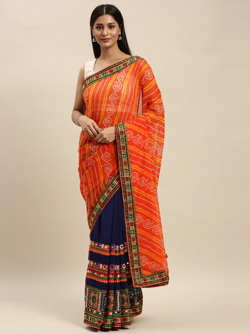 Vastranand | VASTRANAND Navy Blue & Orange Georgette Embroidered Bandhani Saree