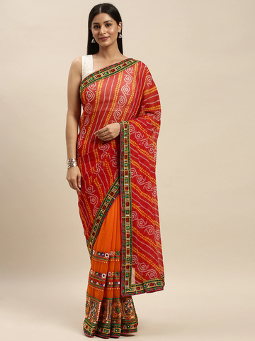 Vastranand | VASTRANAND Orange & Red Georgette Embroidered Bandhani Saree