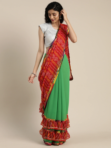 Vastranand | VASTRANAND  Green & Red Georgette Printed Bandhani Saree