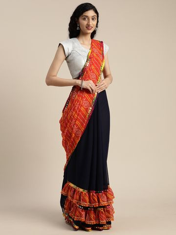 Vastranand | VASTRANAND  Navy Blue & Orange Georgette Printed Bandhani Saree