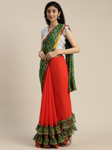 Vastranand | VASTRANAND  Orange & Green Georgette Printed Bandhani Saree