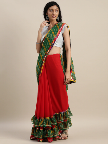 Vastranand | VASTRANAND  Red & Green Georgette Bandhani Printed Half and Half Ruffled Saree