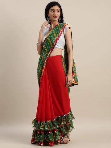 Vastranand | VASTRANAND  Red & Green Georgette Bandhani Printed Half and Half Ruffled Saree