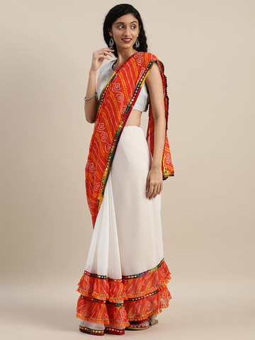 Vastranand | VASTRANAND  White & Orange Georgette Bandhani Printed Half and Half Ruffled Saree