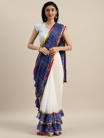 Vastranand | VASTRANAND  White & Blue Georgette Bandhani Printed Half and Half Ruffled Saree