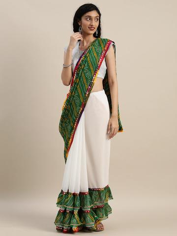 Vastranand | VASTRANAND  White & Green Georgette Bandhani Printed Half and Half Ruffled Saree