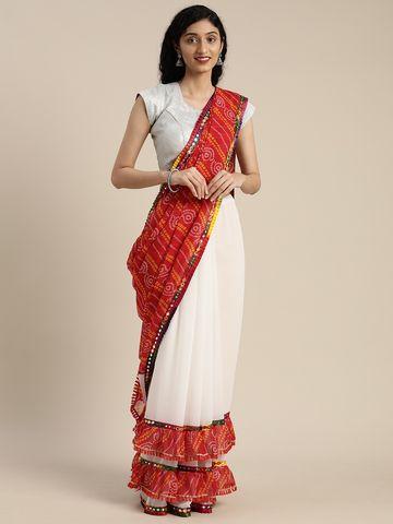 Vastranand | VASTRANAND  White & Red Georgette Printed Bandhani Saree