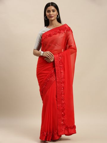 Vastranand | VASTRANAND Red Embellished Georgette Saree