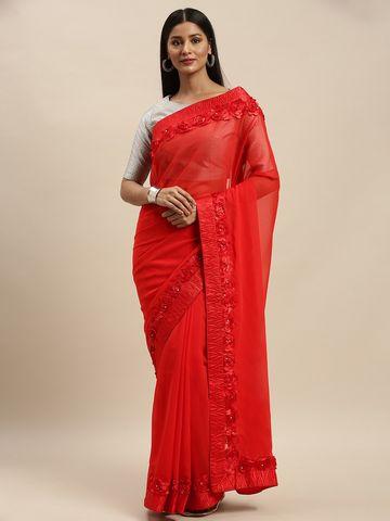 Vastranand | VASTRANAND Red Embellished Georgette Saree