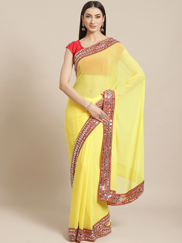 Vastranand | VASTRANAND  Yellow Solid Saree