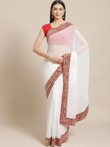 Vastranand | VASTRANAND  White Solid Mirror Work Saree