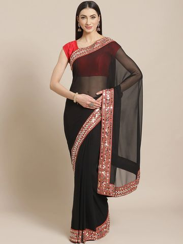 Vastranand | VASTRANAND  Black Mirror Work Solid Saree