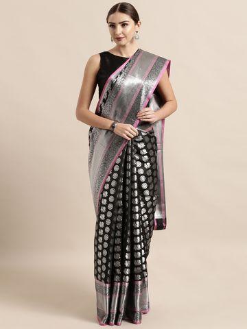 Vastranand | VASTRANAND  Black & Silver Silk Blend Woven Design Kanjeevaram Saree