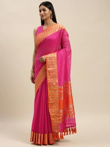 Vastranand | VASTRANAND Pink Polycotton Solid Banarasi Saree