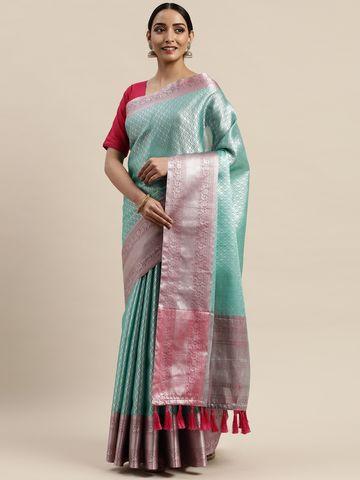 Vastranand | VASTRANAND Turquoise Blue Silk Blend Woven Design Kanjeevaram Saree