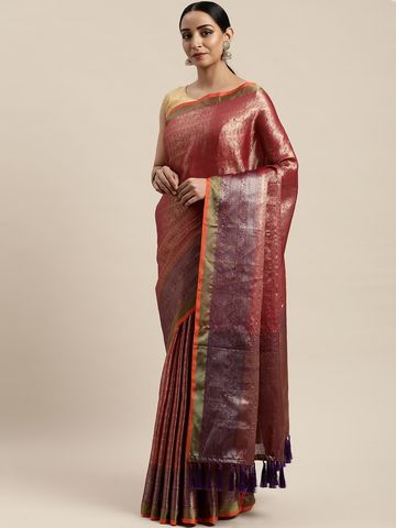 Vastranand | VASTRANAND Pink & Gold-Coloured Silk Blend Woven Design Kanjeevaram Celebrity Saree